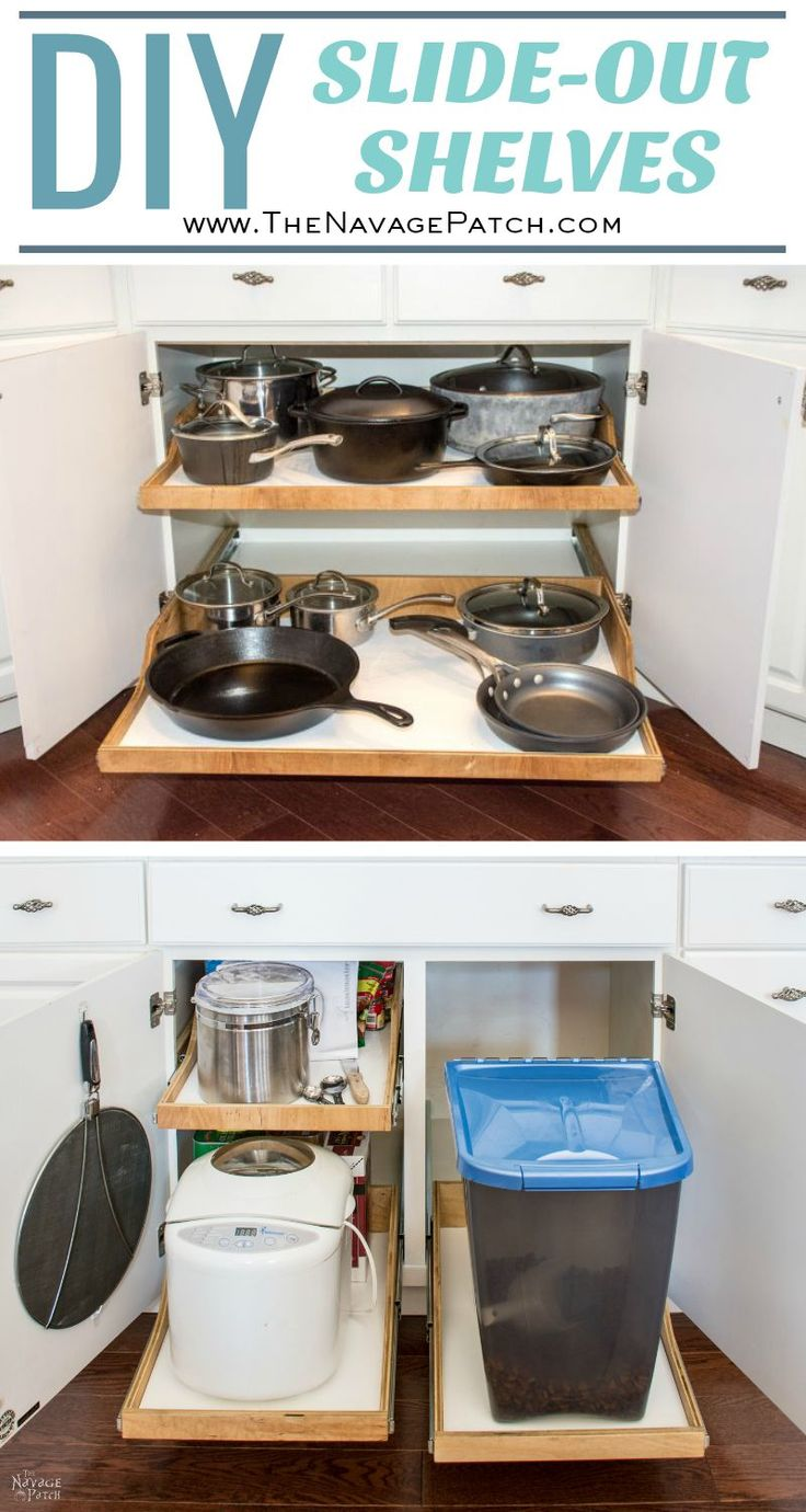DIY Slide-Out Shelves | DIY pull-out shelf | How to make sliding shelf for kitch...