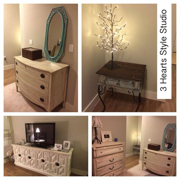 Denver apartment with all refinished vintage pieces by 3 Hearts Style Studio. Fu...