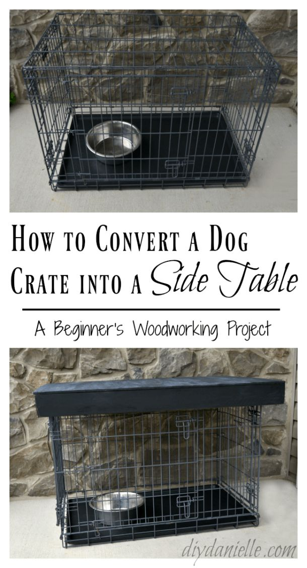 Easy Dog Crate Side Table. Perfect for a beginner woodworking project!  #howto #...