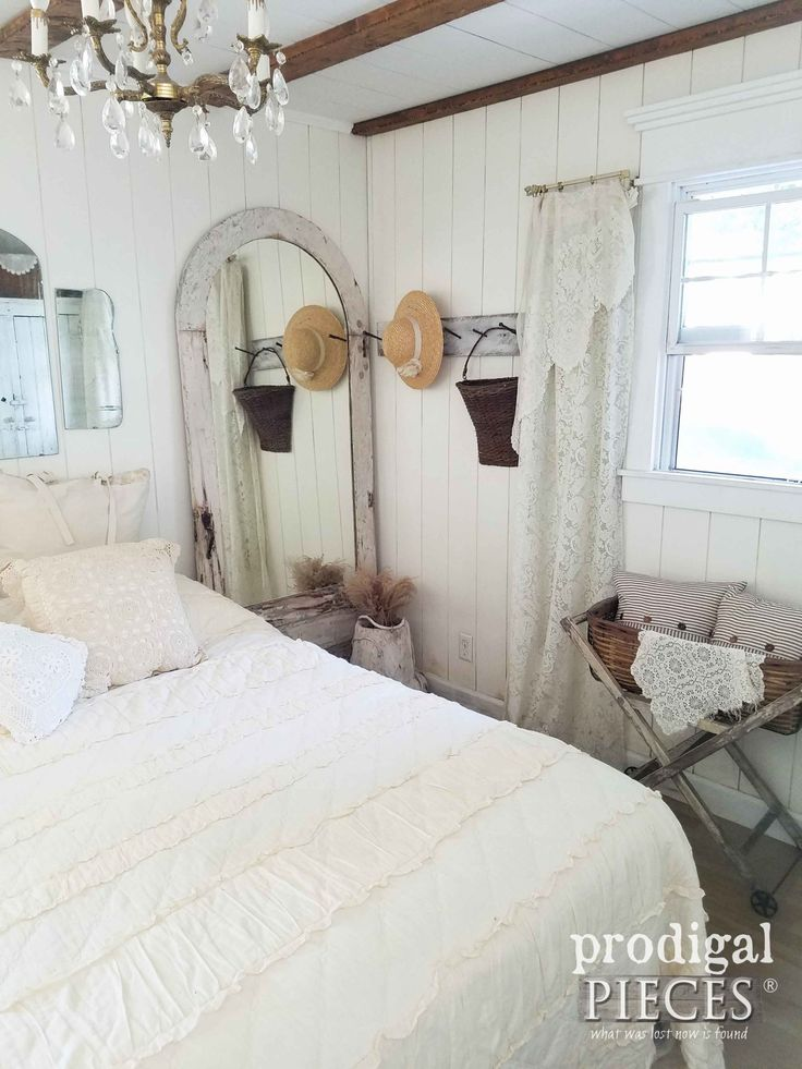 Farmhouse Style Bedroom Decorated with Repurposed and Found Items by Prodigal Pi...