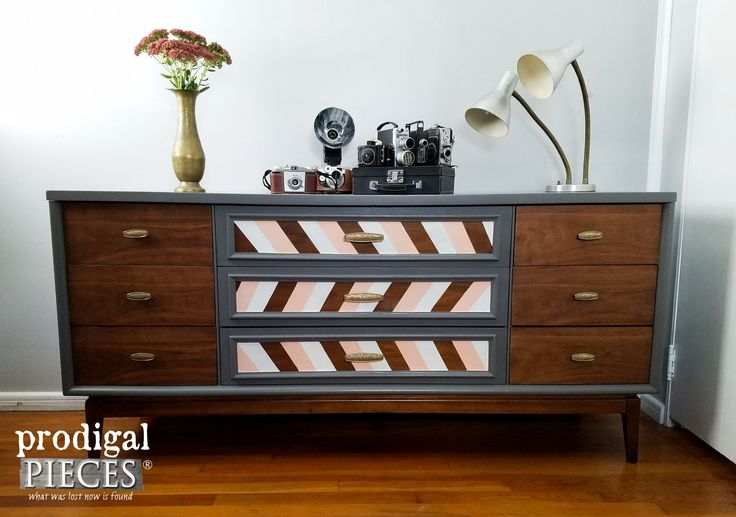 Mid Century Modern Dresser with Modern Chic Makeover by Prodigal Pieces | www.pr...