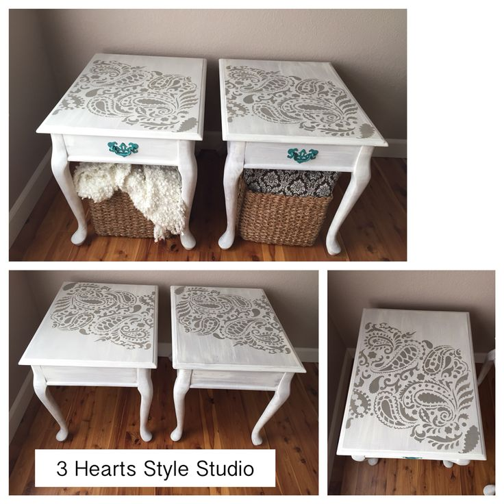 Painted furniture. Paisley top side tables. Refinished furniture Denver and Colo...