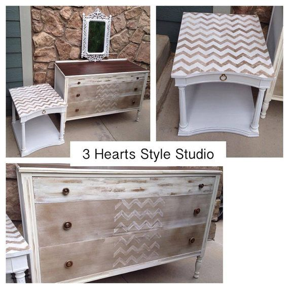 SOLD White and Gold Chevron Antique Dresser by 3HeartsStyleStudio painted furnit...