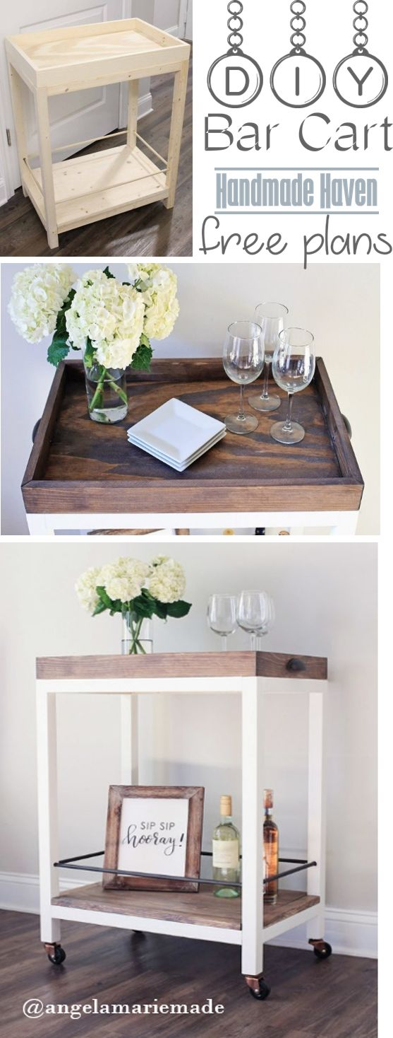 Step by Step How To on building this easy DIY Bar Cart - Free Plans - Handmade H...