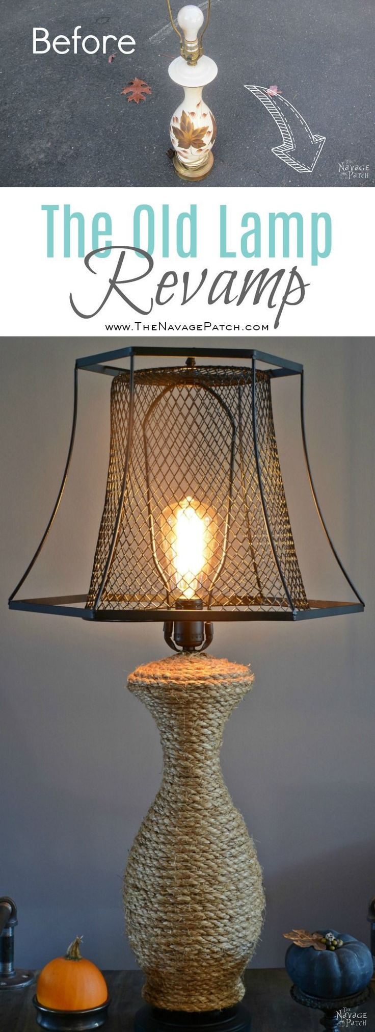 The Old Lamp Revamp | Industrial style DIY lamp makeover using Dollar Store tras...