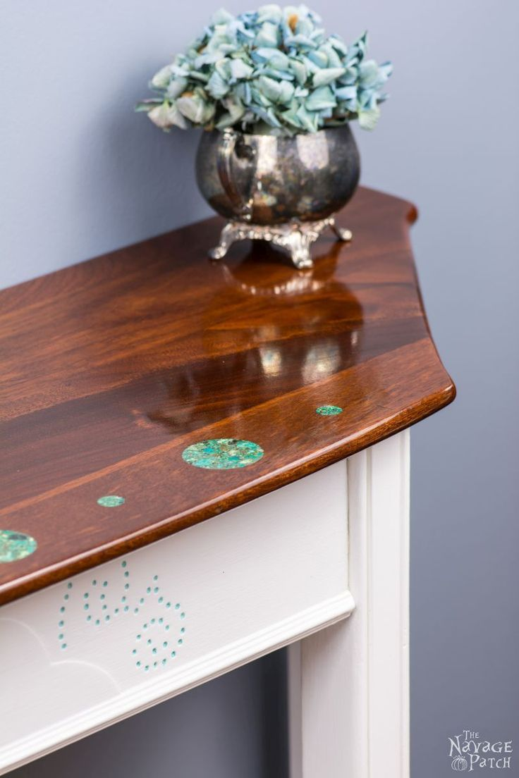 Turquoise Stone Inlayed Console Table {The Beauty in the Beast}   Upcycled furni...