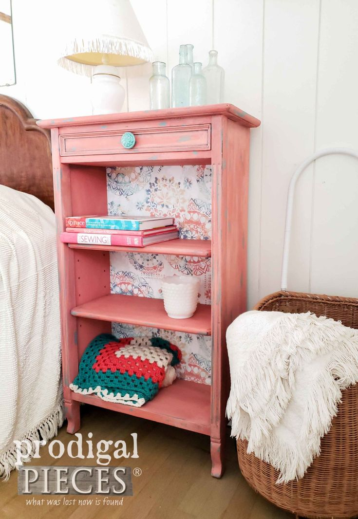 Vintage Bookcase in a Coral Color with Teal Accents by Larissa of Prodigal Piece...