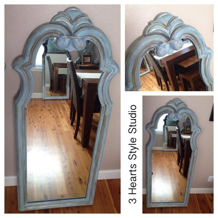 Vintage mirror revamped with duck egg blue and gold detailing along edges. For m...