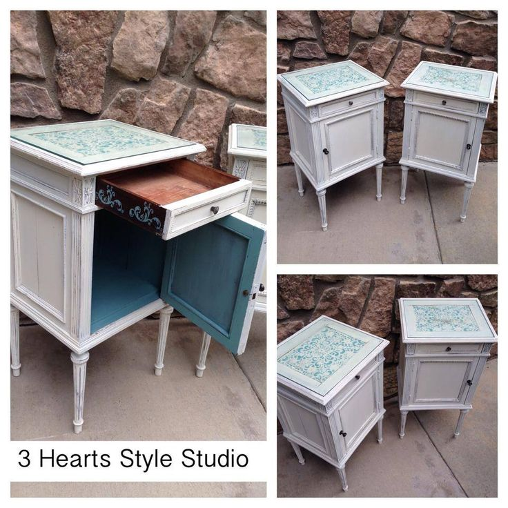 Vintage set of end tables with teal interior and white exterior. Locally refinis...