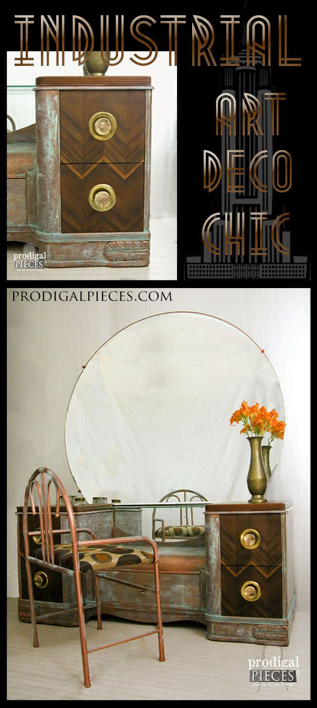Worn out vintage Art Deco dressing table gets an industrial chic makeover with M...