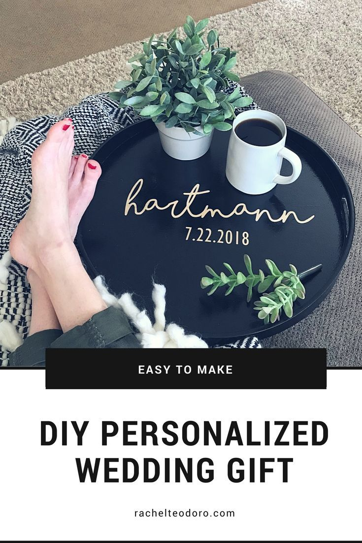 easy to make DIY personalized wedding gift serving tray using vinyl and stain