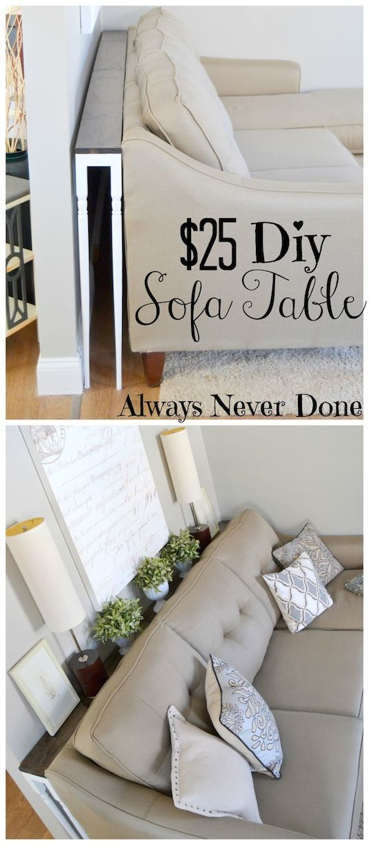 #20. Build a narrow sofa table to place behind your couch! Perfect for drinks wh...