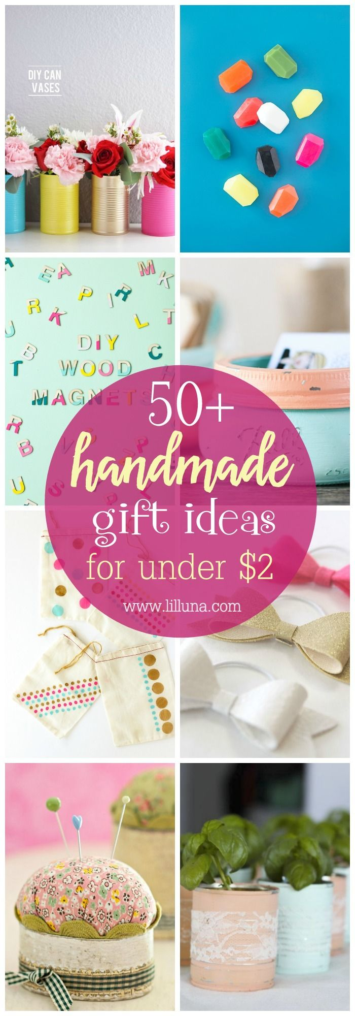 50+ Handmade Gift Ideas that can all be made for under $2!!! Check out this grea...