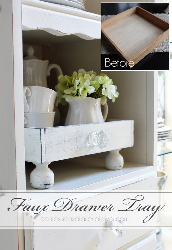 A plain tray is updated to look like a repurposed drawer...from Confessions of a...