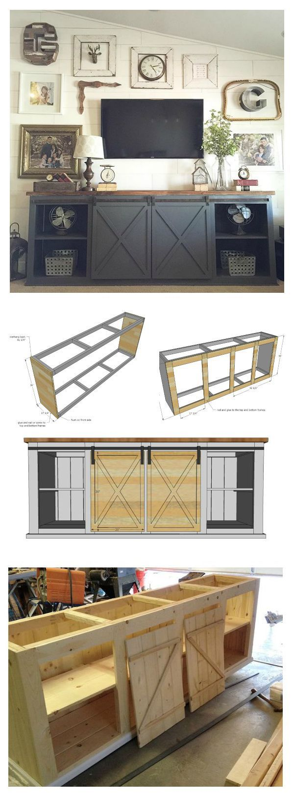 Ana White | Build a Grandy Sliding Door Console | Free and Easy DIY Project and ...