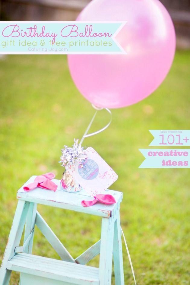 Birthday Balloon gift idea and free printable gift tag! www.kristenduke.com