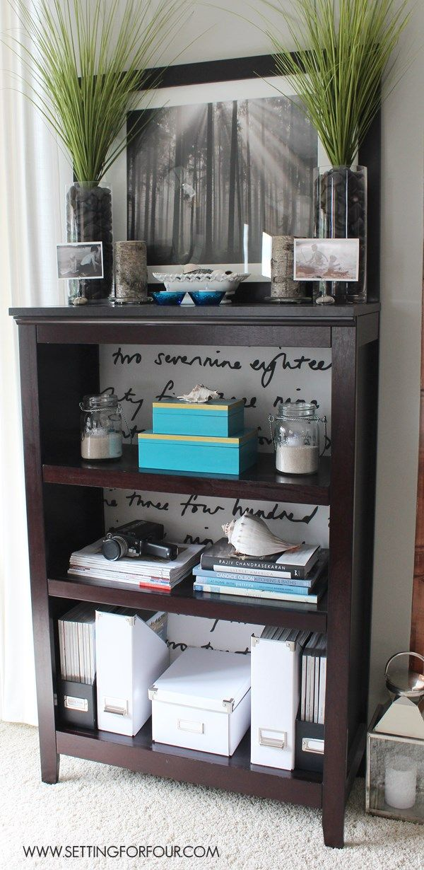 Bookcase Makeover with Fabric: See how I added some style to a basic bookcase wi...