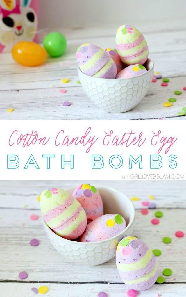 Cotton Candy Easter Egg Bath Bomb Recipe on www.girllovesglam...