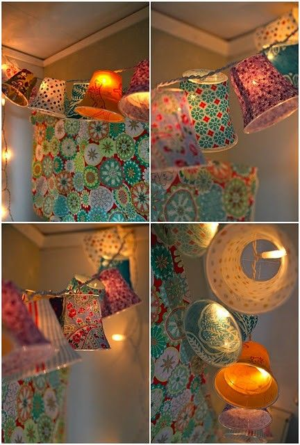Cover plastic cups in fabric, attach to string lights!