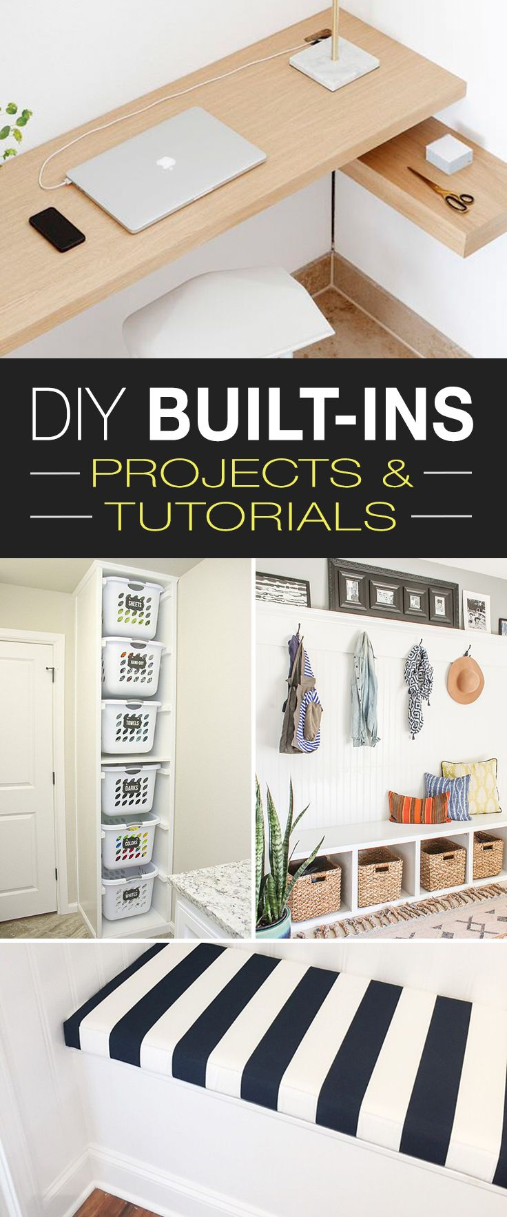 DIY Built Ins • Ideas, Projects & Tutorials! • Built-in benches, shelves, st...