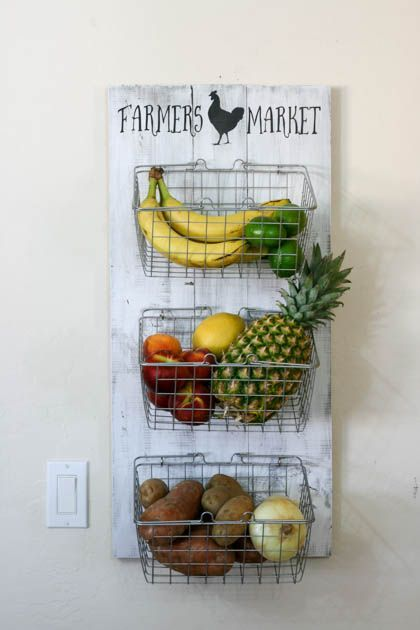 DIY Farmer's Market Produce Rack for a fun way to store kitchen fruits and v...