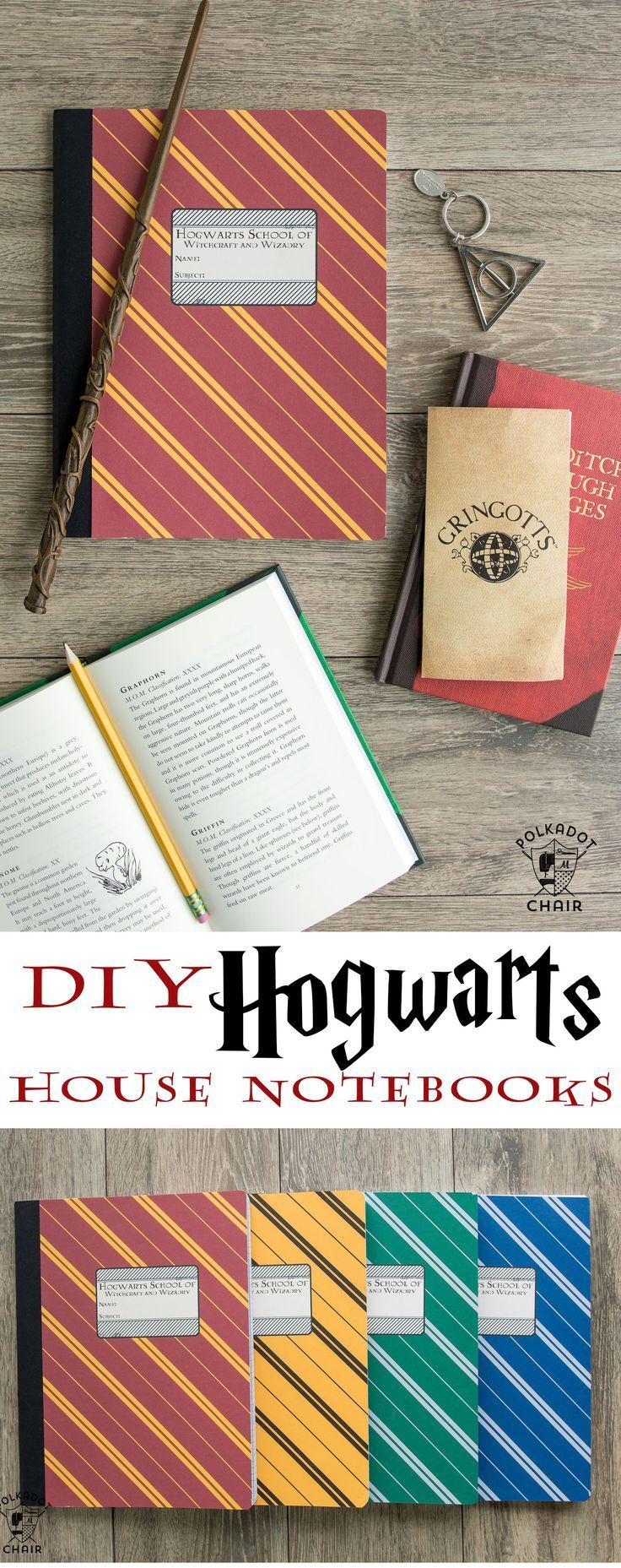 DIY Harry Potter Hogwarts Notebooks; with free printable covers for each house o...