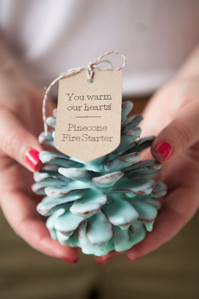 DIY - How to make Pinecone Fire Starter favors for your winter wedding! Or for g...