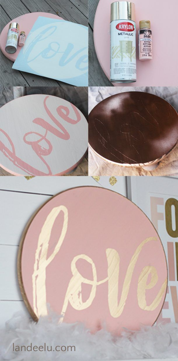 DIY Love Valentine's Day Sign - It's just so fun to take some wood, add some p...