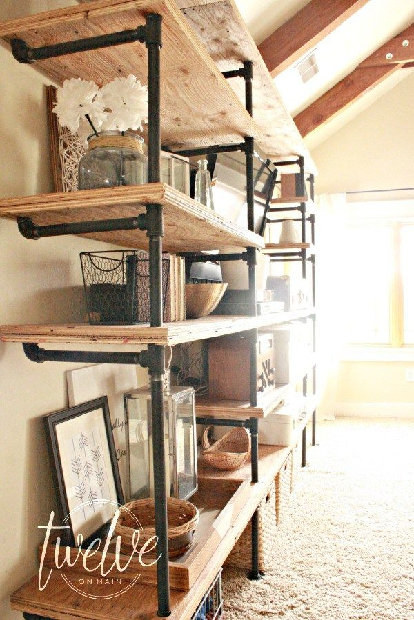 DIY industrial pipe shelves. Use your imagination to come up with any configurat...