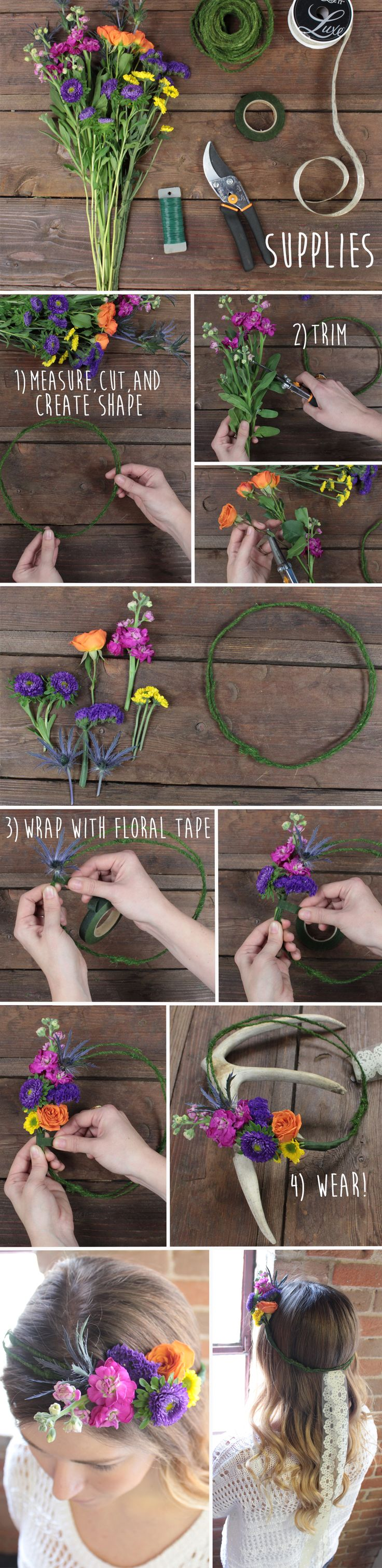 DIYing a flower crown couldn't be easier! Check out the blog post for more info ...