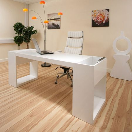 DIYwhite desk with clean lines and storage shelves with cubby for files or books