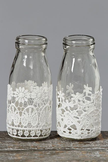 Diy Crafts Decorative Milk Bottles With Lace Diyall Net Home