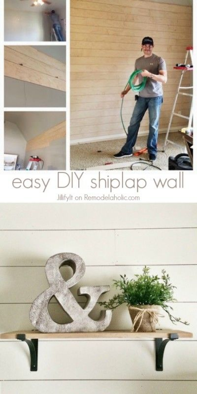 Easy DIY Shiplap Wall Tutorial -- an inexpensive way to add character or cover u...