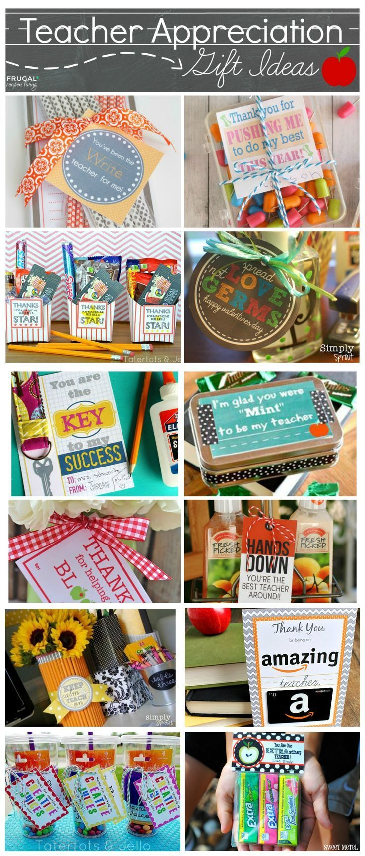 Easy and Creative Teacher Appreciation Gift Ideas plus FREE Printable Notes - Gr...