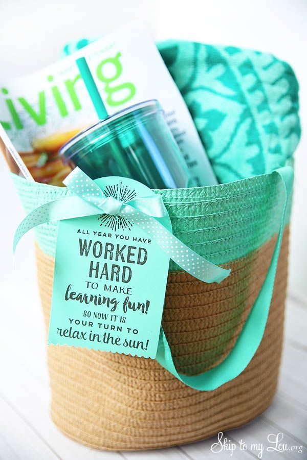 End of year teacher gift will help your teacher relax this summer. Fill a tote w...