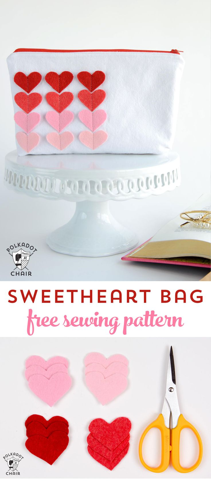 Diy Crafts Free Sewing Pattern For A Sweetheart Zip Pouch A Cute
