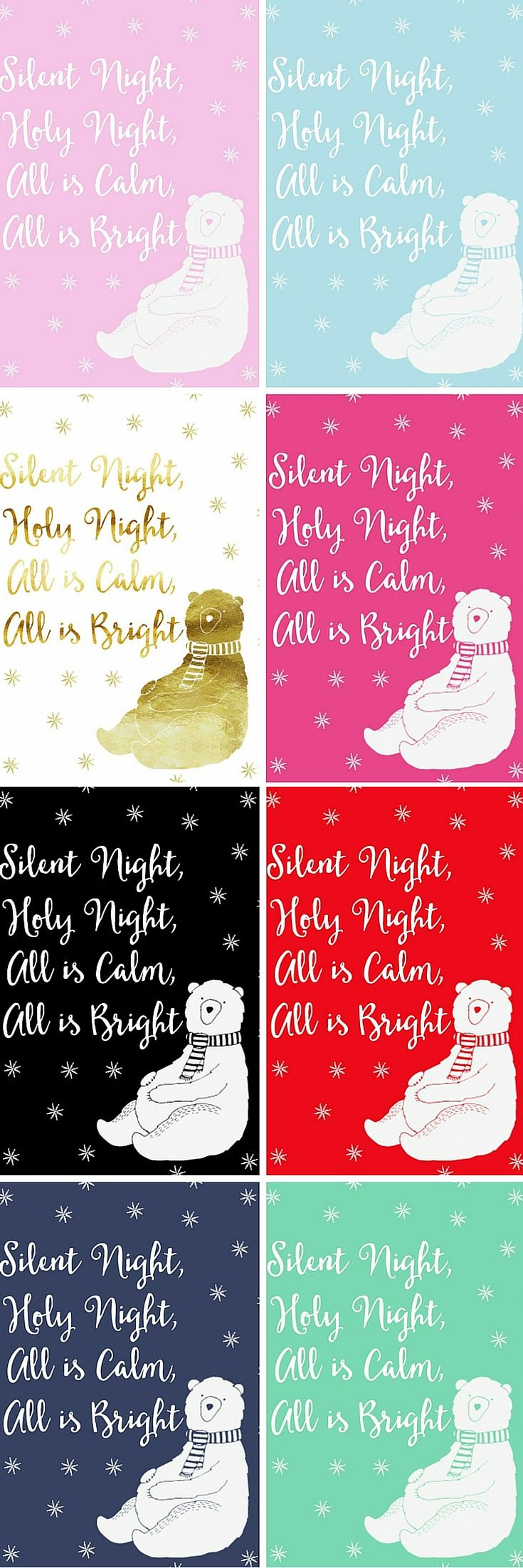 Free Silent Night Christmas Printables perfect for a nursery or as sweet gifts.