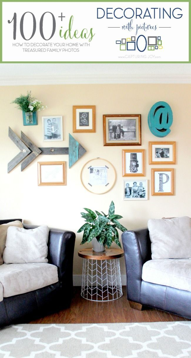 Gallery Wall with Arrow Art. How to create a gallery wall of family photos. Mix ...