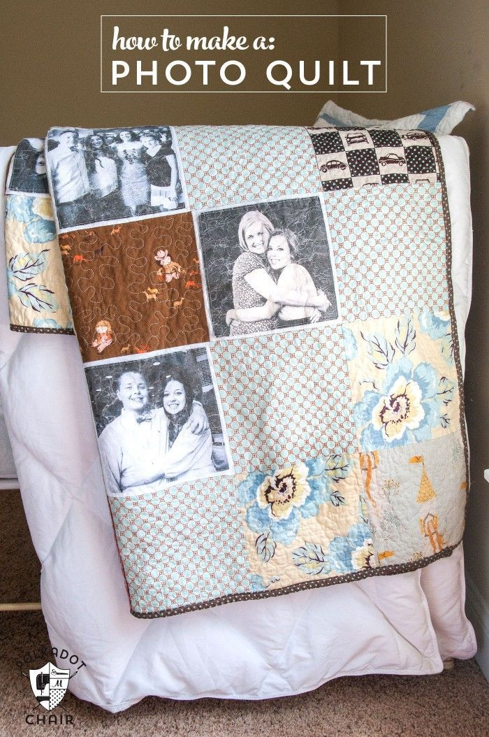 How to make a simple photo memory quilt, a great handmade gift idea for Christma...