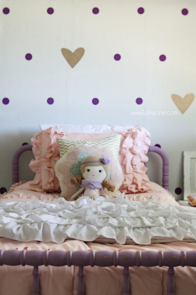 diy crafts : little girl purple gold bedroom makeover. pretty purple