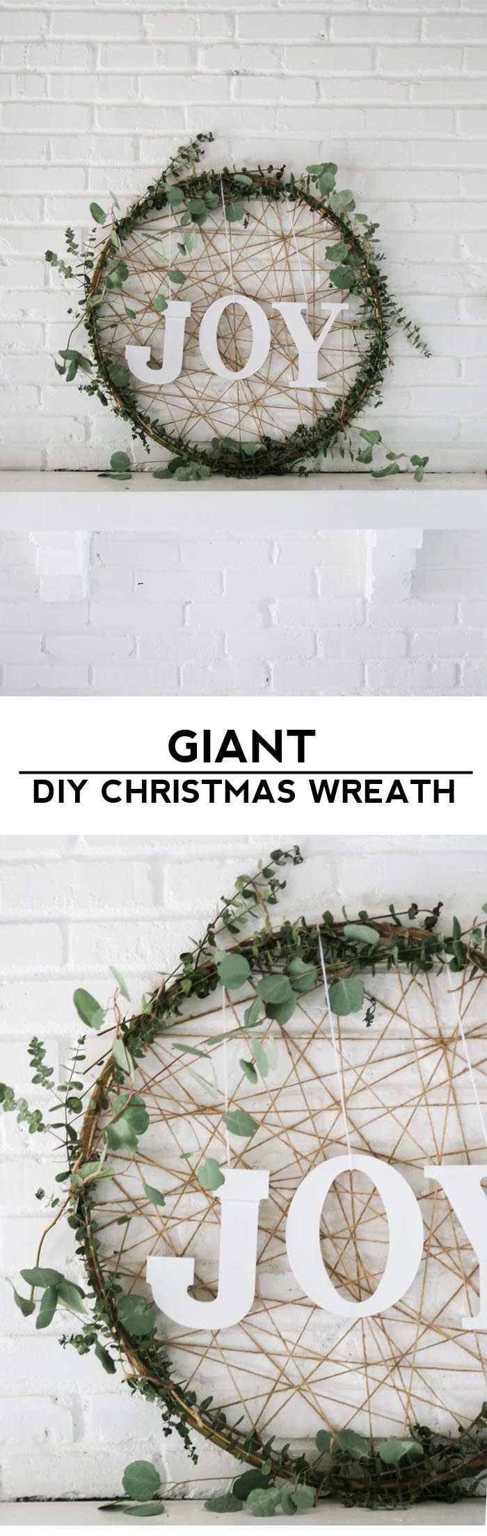 Make a giant Christmas wreath out of a hula hoop and eucalyptus for some rustic ...