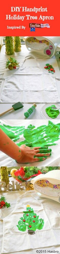 Make an easy handprint holiday tree apron with your kids and have a gift that ho...