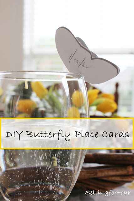 Make these easy adorable personalized DIY Butterfly Place Cards for your next di...