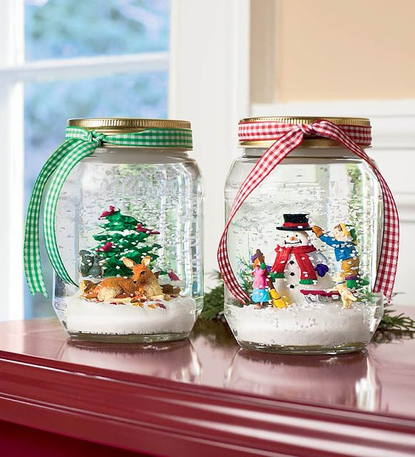 Make your own snow globes, add a pretty ribbon and you've got a perfect home...