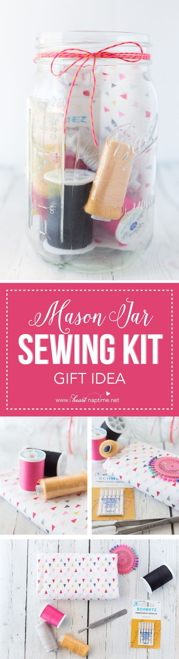 Mason Jar Sewing Kit Gift - this is a perfect gift for the seamstress in your li...