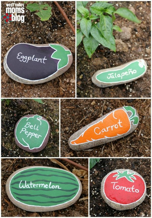 River Rock Garden Markers by West Valley Moms Blog and other super cute DIY gard...