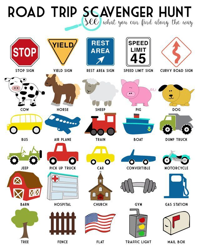 Road Trip Scavenger Hunt Free Printable. Perfect for summer family vacation!