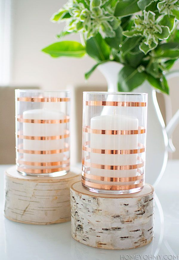 Rose Gold Striped Candle Holders. The perfect wedding #DIY for your reception.