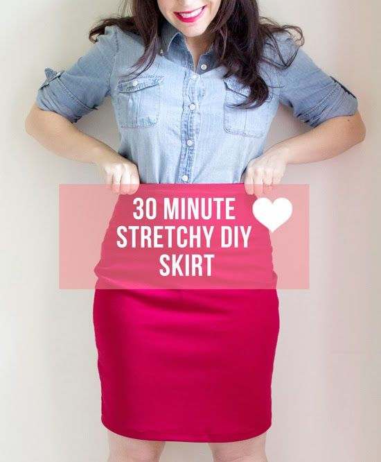 The ultimate DIY stretchy pencil skirt. Going to make this up in a few colours a...