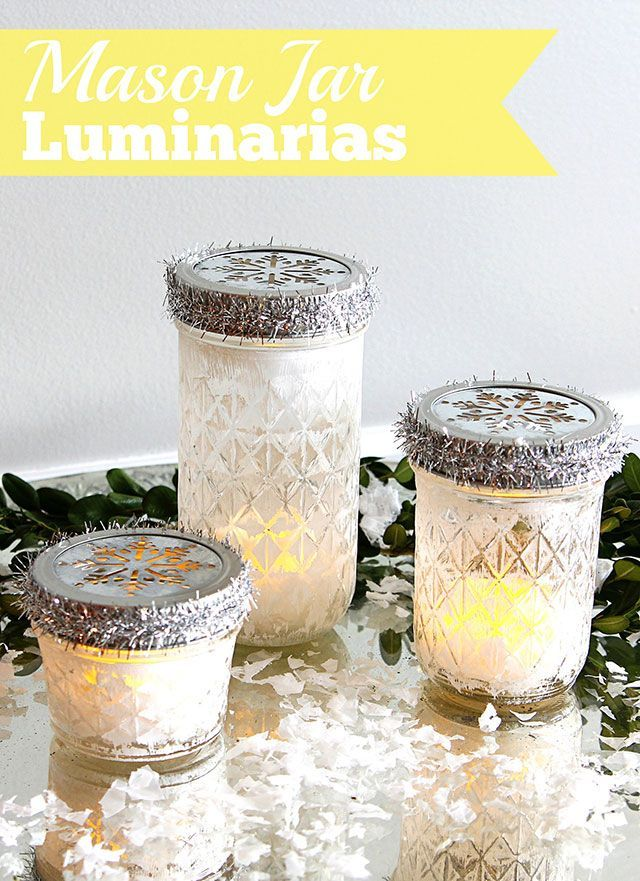 These mason jar luminarias are a super easy five-minute craft for the holidays. ...